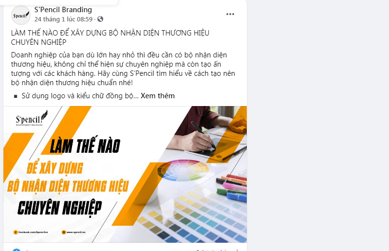 Content Facebook bắt trends của S'pencil Branding